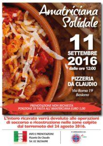 """Domenica 11 settembre 2016 """"Amatriciana Solidale"""""""